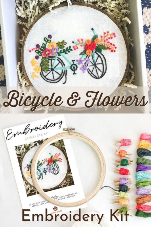 Complete embroidery kit for this adorable Bicycle & Flowers work of art. Perfect gift idea for yourself or another aspiring crafter in your life! #embroiderypattern #crafts #sewing #embroiderforlife #bicyclecrafts