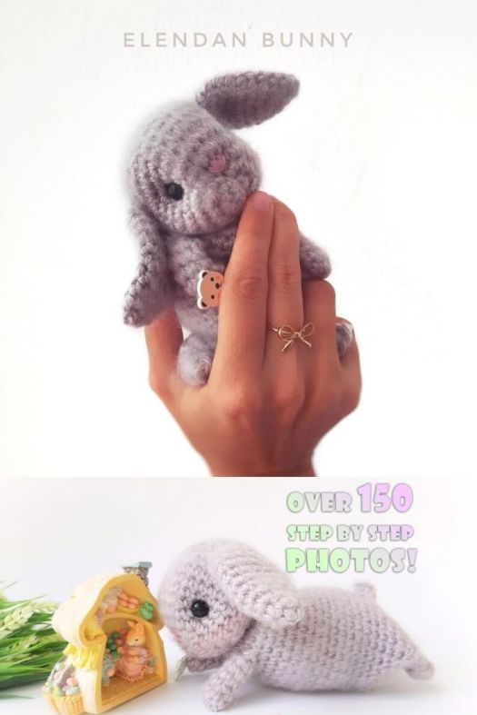 Adorable palm-sized crochet amigurumi bunny, with brushed yarn fur, makes it so fuzzy and realistic looking! Little stuffed toys make great last minute handmade gift ideas. Love this sweet bunny rabbit amigurumi crochet pattern! #crochetpattern #amigurumipattern #stuffedtoypattern #craftevangelist #patternroundup