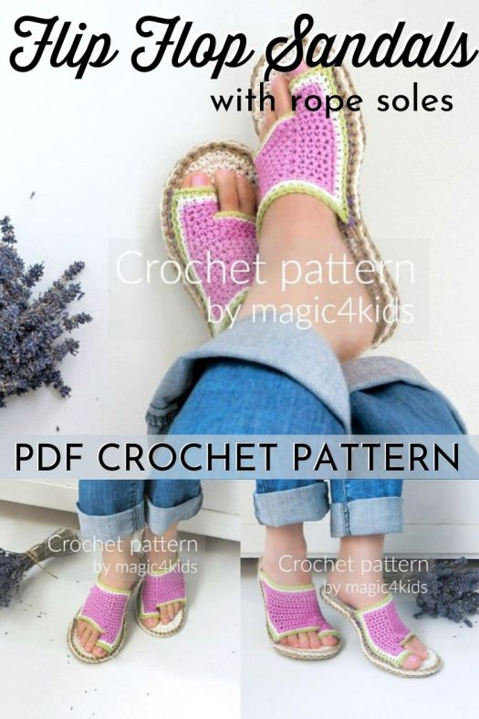Intermediate crochet pattern to make this fun pair of flip flop sandals. You can even make them for outdoors by adding soles! #crochetpattern #crochetflipflops #crochetsandals #sandalpattern