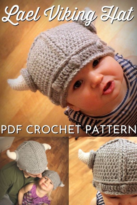 Adorable viking hat crochet pattern. What a fun hat for a viking costume or just to get your kid excited about wearing a hat. Comes in sizes up to adult, too! So fun! #crochetpattern #crochetvikinghatpattern #crochethatpattern #crochetbeaniepattern #vikinghat #craftevangelist