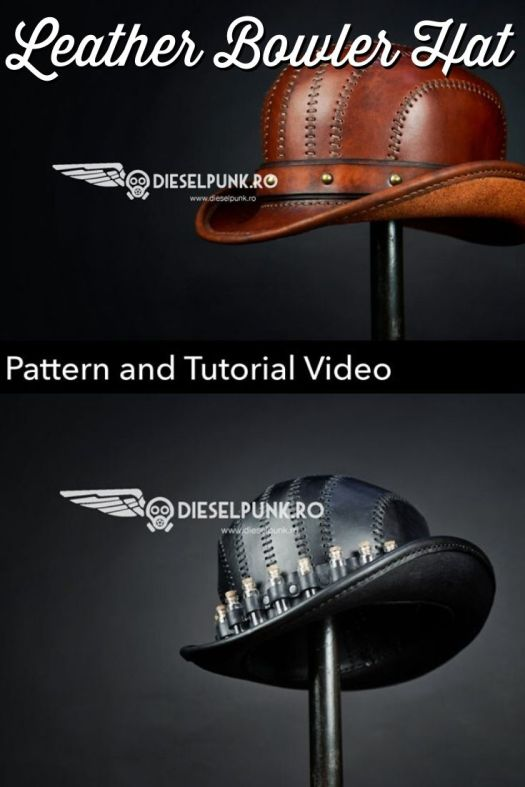 How fun is this leather steampunk  hat?! This awesome tutorial will show you how to make your own DIY leather bowler hat! So cool! #steampunk #leatherhat #diyhat #diybowlerhat #steampunkhat #craftevangelist