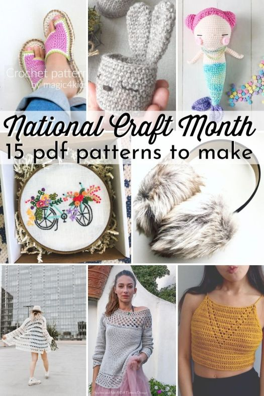 Check out these great knit, crochet, sewing & embroidery patterns to make to celebrate National Craft Month in March! Love these awesome patterns!