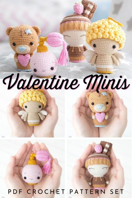 Adorable set of amigurumi crochet patterns, perfect for Valentine's Day! I love the little perfume bottle! So unique! #crochetpattern #amigurumipattern #valentinesday #handmadegifts #craftevangelist #patternroundup