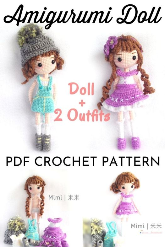 Mimi the amigurumi doll crochet pattern. Crochet doll pattern with two outfits, perfect for International Women's Day! Love the options! #crochetpattern #amigurumipattern #amigurumidoll #crochetdollpattern #craftevangelist