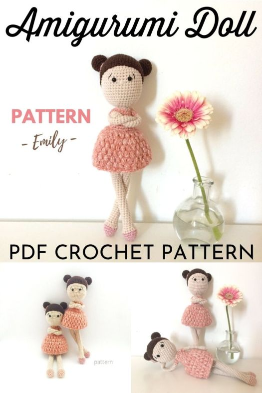 This sweet amigurumi crochet doll pattern is sure to be a little girl's best friend. Step by step instructions with lots of pictures. Detailed and easy to follow crochet pattern. #crochetpattern #amigurumipattern #amigurumidoll #crochetdollpattern #craftevangelist