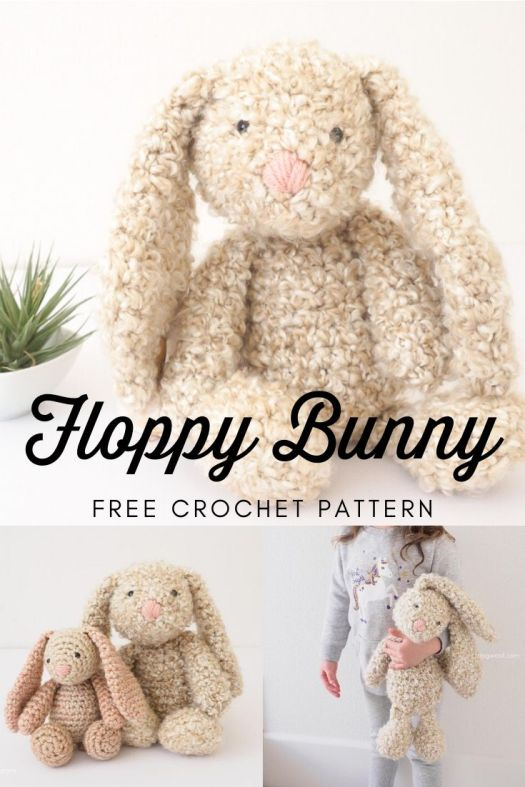 Super Cute free bunny rabbit crochet pattern made with Homespun yarn so it looks so adorable and scruffy. Classic floppy bunny free crochet pattern! Check out craftevangelist's round up of free knit and crochet patterns! #freecrochetpattern #freeamigurmipattern #freepatterns #patterroundup #amigurumipattern #stuffedbunnypattern #craftevangelist