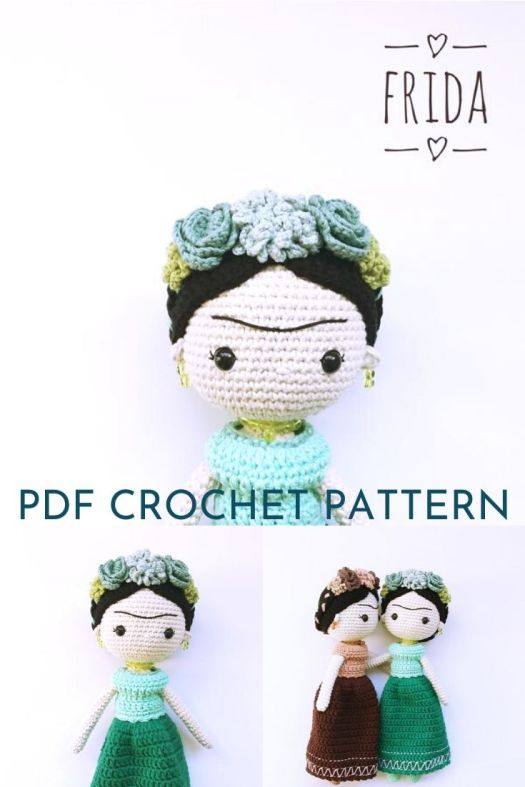 Wonderful Frida Kahlo amigurumi doll pattern with gorgeous flowers in her hair. Great crochet doll pattern! #crochetpattern #amigurumipattern #amigurumidoll #crochetdollpattern #craftevangelist