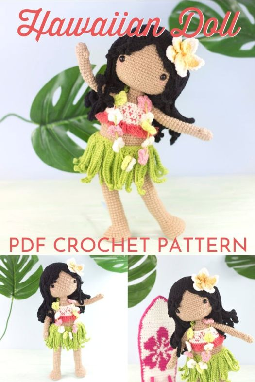 Cute little hawaiian doll amigurumi crochet pattern. Lovely handmade gift idea for a little Moana-loving girl! #crochetpattern #amigurumipattern #amigurumidoll #crochetdollpattern #craftevangelist