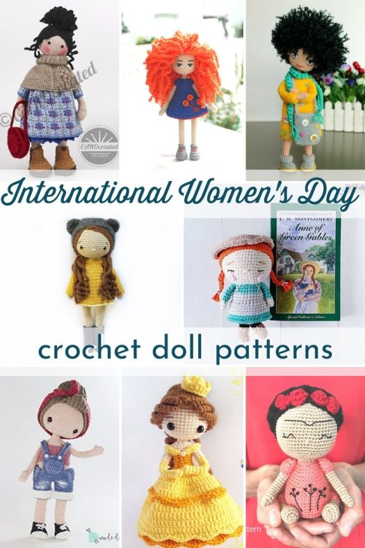 Crochet Doll Patterns. Lovely amigurumi doll patterns to celebrate international women's day! Love these fun and unique dolls, they make great handmade gifts! #crochetdollpattern #crochetpattern #amigurumipattern #amigurumidollpattern #craftevangelist