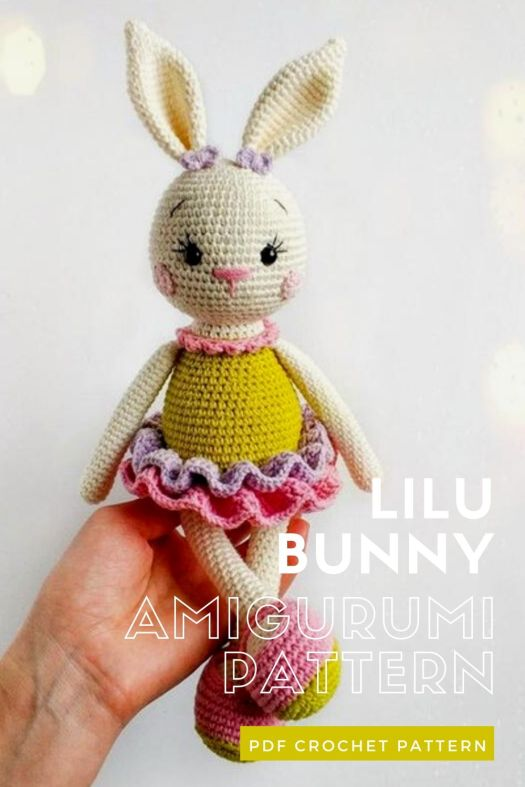 Lilu Bunny amigurumi crochet pattern. Lovely little Easter bunny crochet toy pattern to make this spring. #crochetpattern #eastercrochet #springcrochet #amigurumipattern