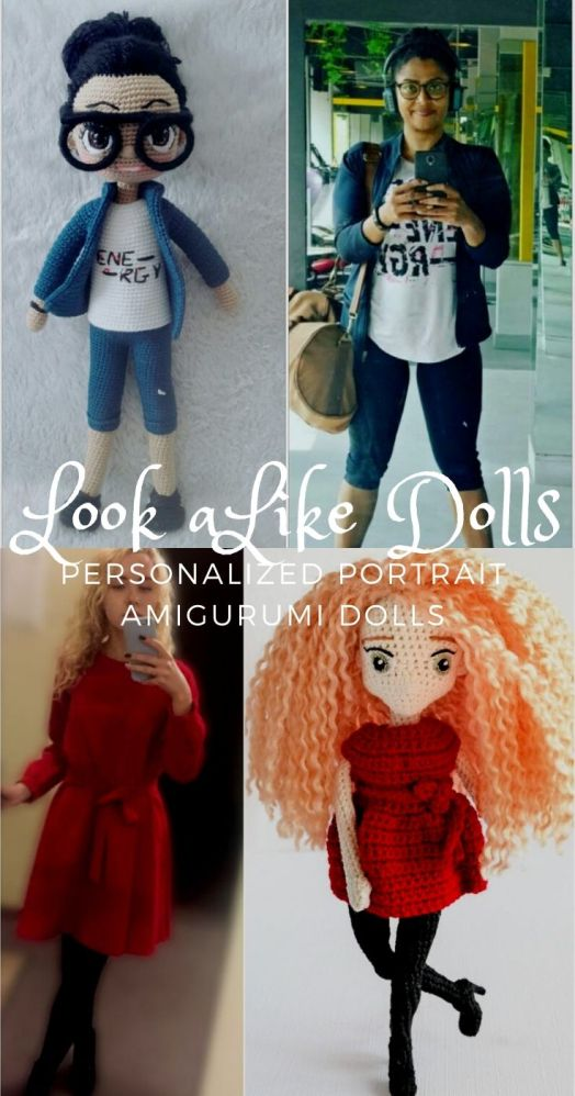 Get a doll made to look like you or a friend! How much fun are these personalized look alike dolls? So fun! #crochetdolls #customdoll #lookalikedoll #personalizeddoll #personalizedcrochetdoll #customamigurumidoll #craftevangelist