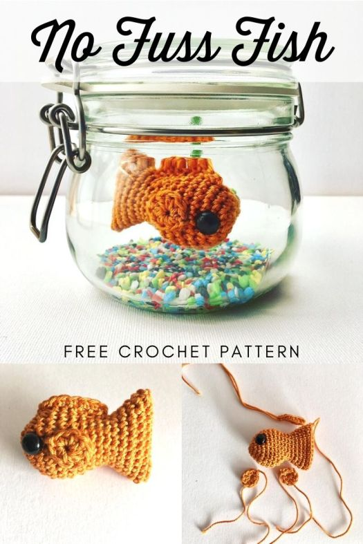 Adorable crochet fish in a jar amigurumi pattern. Free crochet pattern for this cute little fish. Makes a great handmade gift, perfect to cheer anyone up when they're down. #nofussfish #amigurumicrochetpattern #freeamigurumipattern #freecrochetpattern #freefishpattern #freecrochetfish #craftevangelist