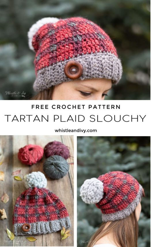 Check out this free tartan plaid slouchy pattern by Whistle & Ivy! I love how many free patterns she has! I can't wait to learn to crochet plaid. So many great patterns in this free pattern round up! #freecrochetpattern #freepattern #crochetpattern #freehatpattern #freeslouchyhatpattern #slouchyhat #plaidcrochet #whistleandivy #craftevangelist