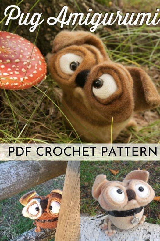 Super cute and fun Pug Amigurumi crochet pattern. This cartoonish stuffed pug pattern is soooooo adorable! What a fun crochet dog pattern #crochetpattern #amigurumipattern #crochetdog #crochetdogpattern #diytoys #amigurumidog #craftevangelist