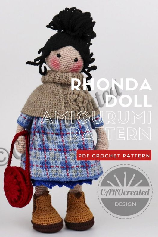 Cute little Rhonda Amigurumi Crochet Doll Pattern. Love her cowl and round purse accessories and the pattern in her dress. Lovely crochet grandma doll pattern. #crochetpattern #amigurumipattern #amigurumidoll #crochetdollpattern #craftevangelist
