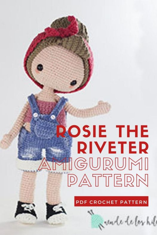 Rosie the Riveter clothes for basic doll pattern. Fun crochet doll outfit. So adorable and perfect for International Women's Day! #crochetpattern #amigurumipattern #amigurumidoll #crochetdollpattern #craftevangelist