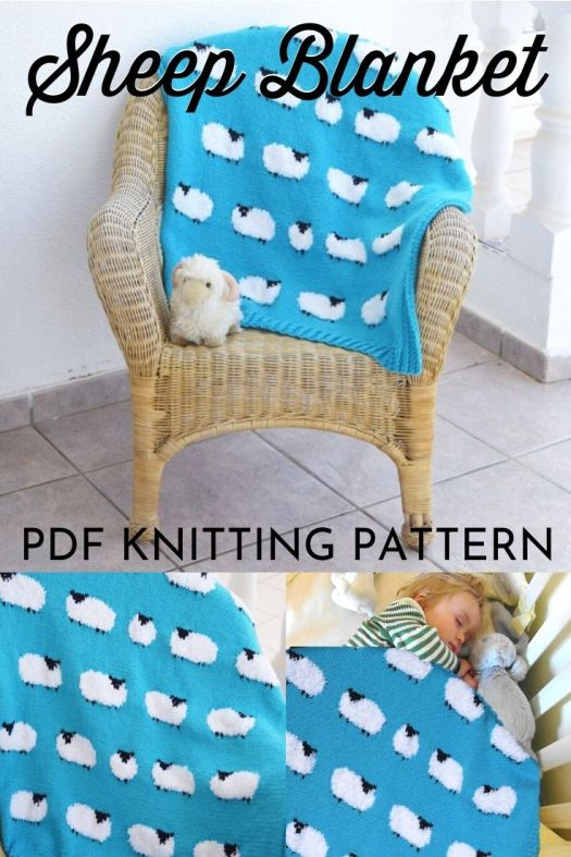 Super sweet knitting pattern for this cute sheep blanket! Would make a great baby gift! #knitting #pattern #yarn #knittingpattern #crafts #blanketpattern #knitblanket #sheep #lambs #craftevangelist