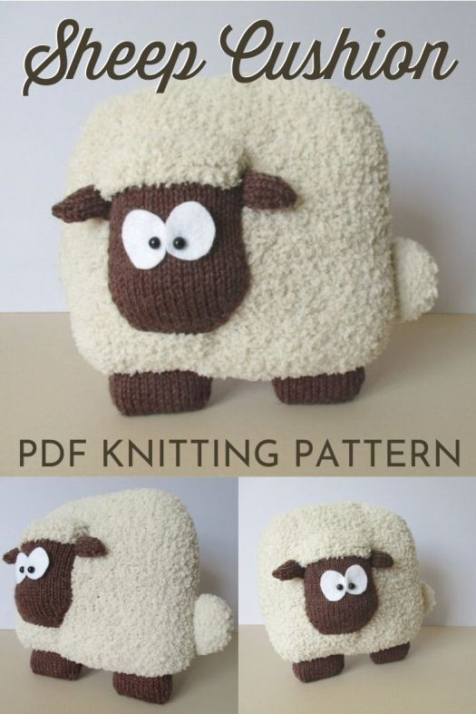 Fuzzy sheep cushion knitting pattern! I love this adorable little lamb! It would make a great pillow for the kid's room! #knitting #pattern #yarn #crafts #sheep #pillow #lamb #craftevangelist