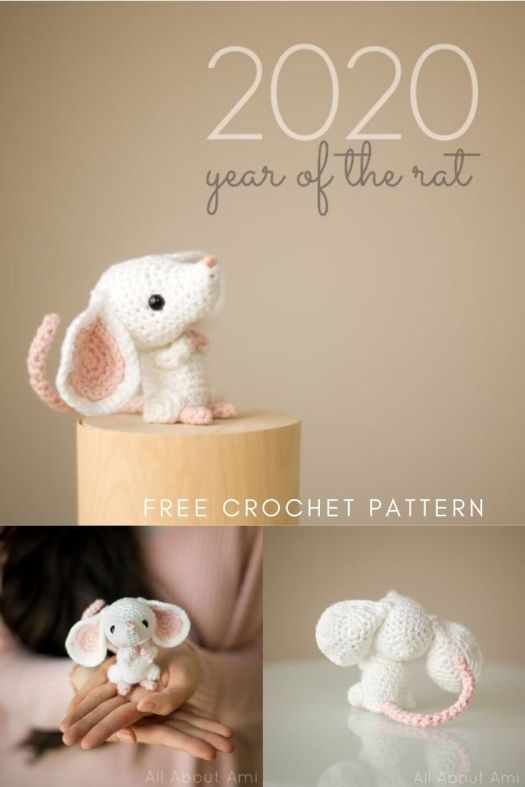 Super sweet little amigurumi rat free crochet pattern from All About Ami! Love this adorable Chinese New Year Rat crochet pattern. Sweet little toy to make for 2020. #chinesenewyear #yearoftherat #freecrochetpattern #freeamigurumipattern #crochetpattern #amigurumipattern #allaboutami #craftevangelist