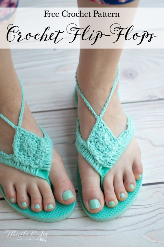 Free pattern for crochet flip flop. Check out this great roundup of free patterns to knit and crochet. Love this Whistle and Ivy Crochet Flip Flop pattern! Available for free on her blog! #freecrochetpatterns #freepattern #crochetflipflops #craftevangelist