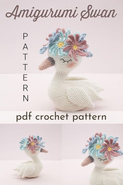 Pretty little swan amigurumi crochet pattern! I love the flower crown she wears! What a fun little crochet pattern! #crochetpattern #amigurumipattern #crochetswanpattern #crochetswan #swanpattern #craftevangelist