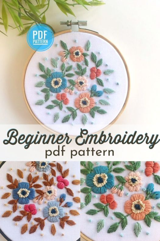Gorgeous floral beginner embroidery pattern. I love this gorgeous pattern! What a lovely spring project to work on and bring some spring colour into my home while I wait for my flowers to bloom! #embroiderypattern #beginnerembroidery #learntoembroider #craftevangelist