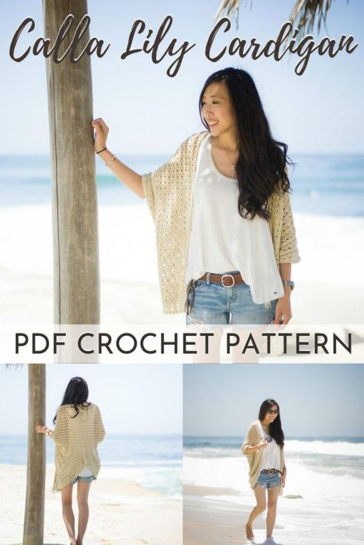 Lovely drapey, crocheted cardigan pattern, perfect for spring! Versatile pattern you can wear two ways! Love this Calla Lily Cardigan Crochet Pattern from All About Ami! #crochetcardigan #cardiganpattern #crochetpattern #craftevangelist