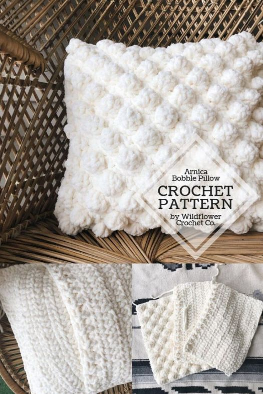 Fun Arnica Bobble Pillow Crochet Pattern! Quick to crochet this textured cushion! Perfect last minute handmade Mother's Day gift idea! #crochetpattern #crochetcushion #crochetthrowpillow #crochetpillow #handmadegiftidea #craftevangelist