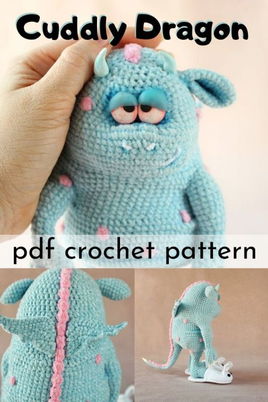 I love the incredible detail on this adorable crocheted dragon pattern! This looks like a lovely amigurumi pattern for this adorable monster. Look at his cute slippers!!! #crochetpattern #amigurumipattern #handmadetoypattern #crochettoypattern #crochetedstuffedtoy #craftevangelist