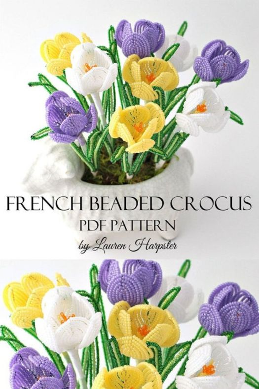 Bring your crocuses inside year round with this pdf beading pattern. Make your own gorgeous beaded sculpture to enjoy these beautiful crocuses! What a fun new craft idea! #springbeading #beadingpattern #learntobead #frenchbeading #craftevangelist
