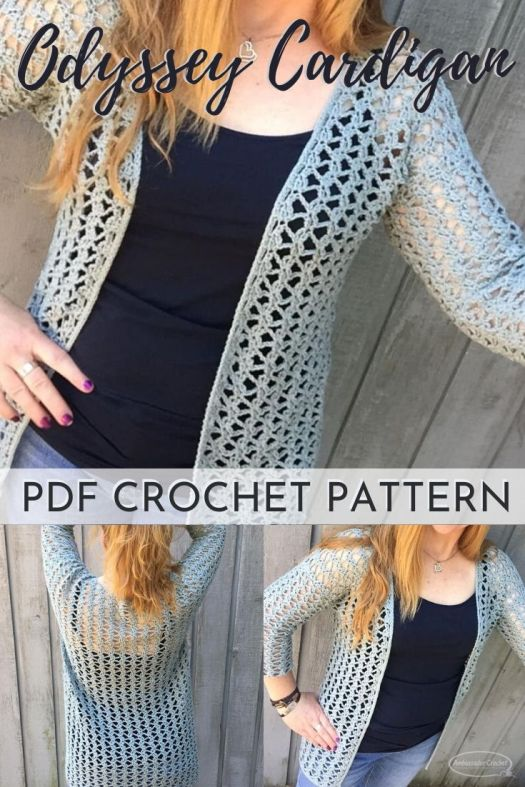 Beautiful open stitch work in this lacy long cardigan crochet pattern. Love the open front style of this pretty cardigan. Perfect crochet pattern for spring. #crochetpattern #crochetcardigan #springcardiganpattern #lacycrochetcardigan #craftevangelist