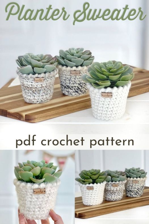 Crochet pattern for this adorable planter sweater. Cozy up your plants and make some matching planters. Perfect handmade housewarming gift and a perfect project to learn to crochet! #crochetpattern #beginnercrochet #learntocrochet #diyplanterpattern #springcrochet #craftevangelist