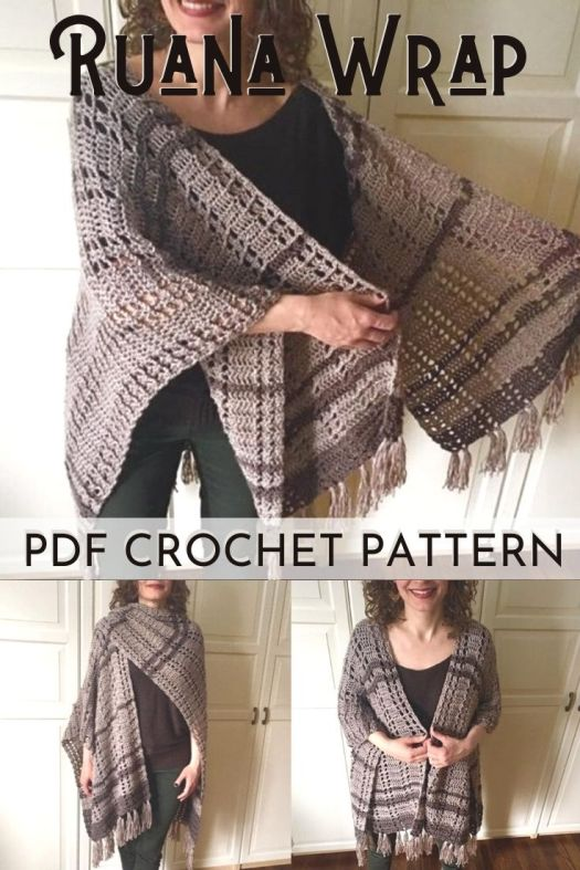 Lovely Ruana Wrap crochet pattern for a lovely poncho style cardigan. This easy beginner crochet pattern is the perfect thing to make for spring weather! #crochetpattern #crochetwrappattern #crochetcardigan #crochetponcho #craftevangelist