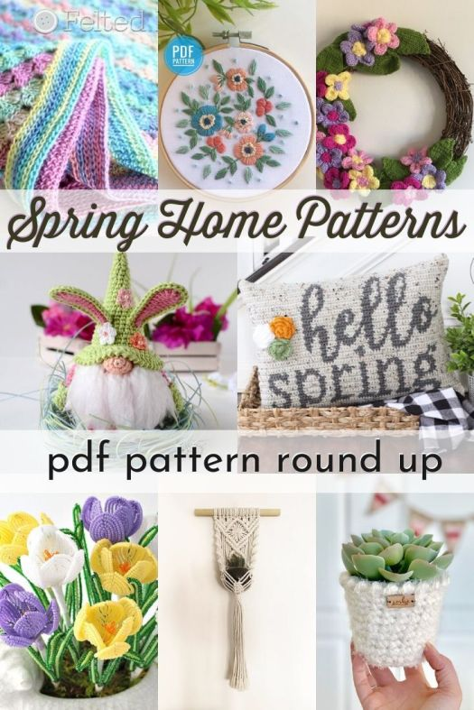 Gorgeous selection of crafting patterns perfect for spring #springcrafts #spring #crochet #springknitting #embroidery #patternroundup #craftevangelist