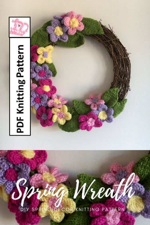Spring Wreath knitting pattern. Lovely knitting pattern filled with flowers and leaves! Perfect diy spring home decor! #knittingpattern #springwreathpattern #wreathpattern #diywreath #wreathmaking #knitwreatch #knitdecorpattern #craftevangelist