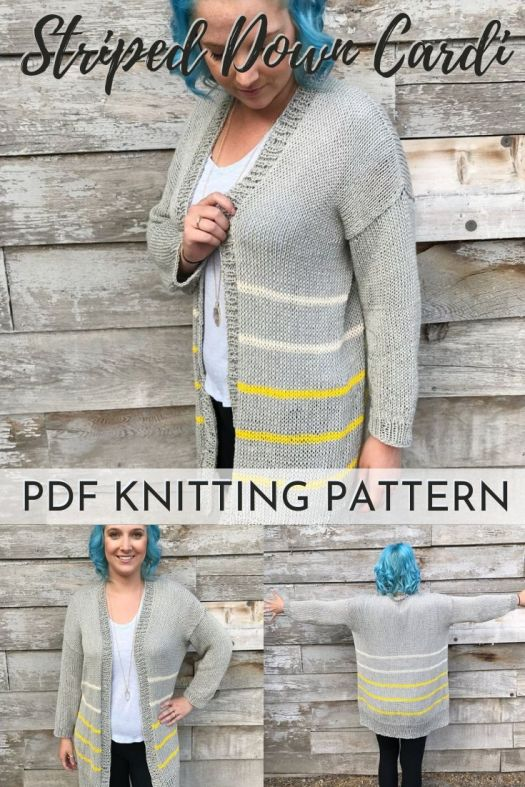 Lovely drape on this striped down cardigan knit sweater pattern. This easy pattern is perfect for beginners. I love light cotton long cardigans for every season! #knittingpattern #knitsweaterpattern #knitcardiganpattern #knitknitknit #knitatude #craftevangelist