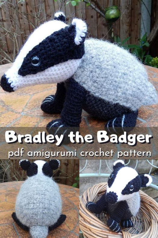 Bradley the Badger amigurumi pdf crochet pattern. I love this adorable and unique little badger crochet pattern. Can't wait to make this delightfully different stuffed animal. So many great crocheted creature patterns to check out in this post. #crochetpattern #amigurumipattern #crochetedcreatures #patternroundup #craftevangelist