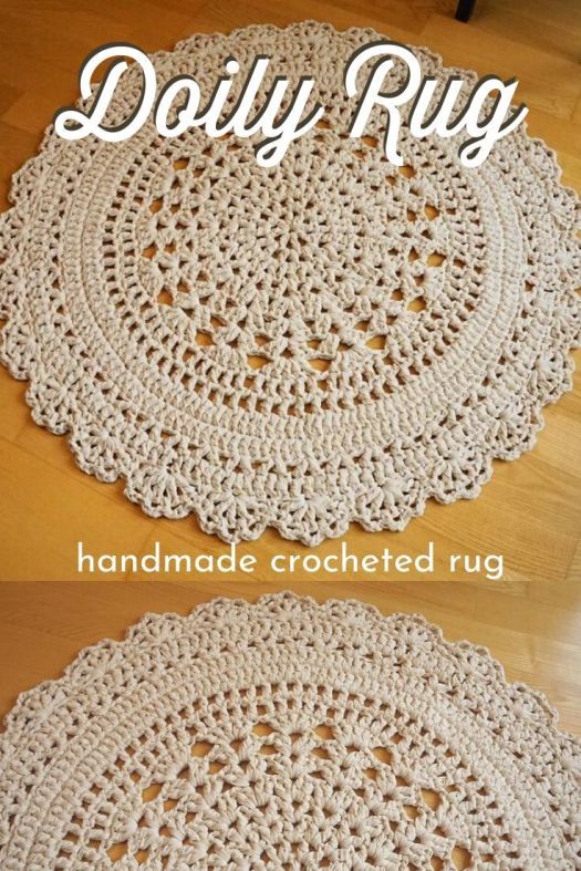 Handmade doily rug. Crocheted by hand, this beautiful round doily rug is a perfect addition to your living room, bedroom, bathroom, nursery or any other room. Machine washable. #crochetrug #handmade #handmadedecor #handmadebathmat #craftevangelist