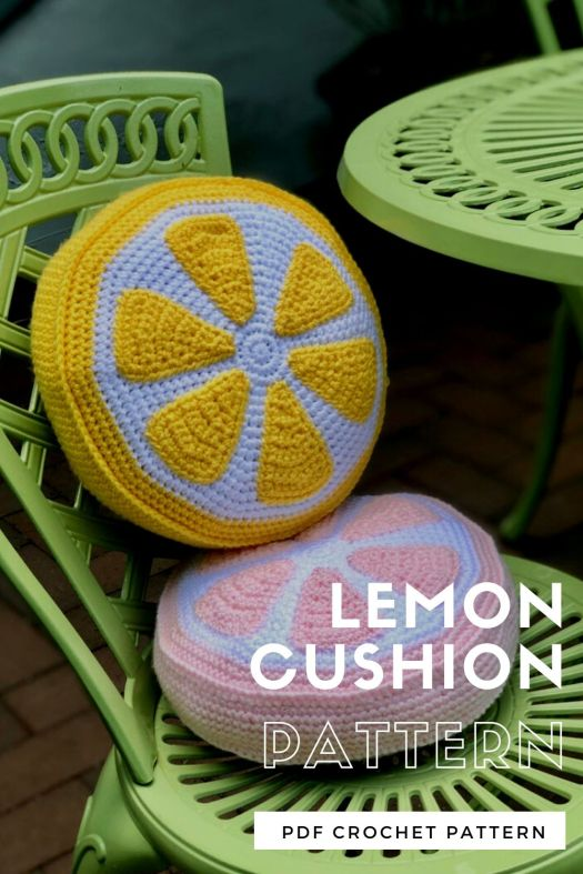 Lemon Cushion crochet pattern. Love this adorable lemon slice crochet pillow pattern! #crochetpattern #crochetcushionpattern #crochetpillowpattern #lemoncrochetpattern #craftevangelist