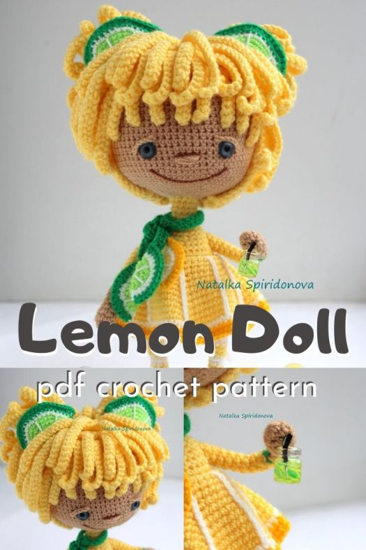 Sweet little amigurumi crochet pattern for this adorable little lemon doll with lime accessories! What a fun handmade crocheted doll toy to make for a little girl! #amigurumipattern #crochetdollpattern #crochetpattern #craftevangelist