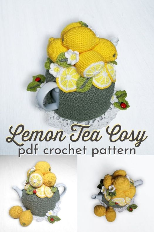 Perfect tea cosy for your lemon-themed kitchen! I love this adorable pile of lemons to top this lovely tea cozy! #lemonteacosy #teacosypattern #crochetpattern #crochetteacosy #crochetteacozy #teacozy #craftevangelist