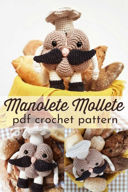 Adorable little amigurumi bread chef crochet pattern! This will be the perfect gift for my sourdough obsessed friend! How cute is he!? #crochetpattern #amigurumipattern #breadcrochetpattern #craftevangelist