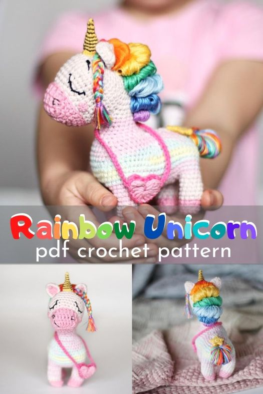 This beautiful unicorn crochet pattern is complete with detailed instructions and over 150 photos of the process to make your own diy stuffed crocheted unicorn! Can't wait to make this toy! #crochetpattern #amigurumipattern #unicornstuffy #crochetedtoys #craftevangelist