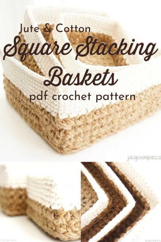 Jute & Cotton Square Stacking Baskets. These baskets nest inside each other and would make perfect rustic drawer organizers or for odds and ends around the house. #rusticcrochet #crochetpattern #crochetbaskets #nestingbaskets #diybaskets #craftevangelist