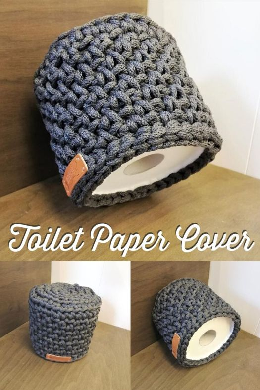 Crocheted Toilet Paper cover. Chunky and modern, made to order in a variety of neutral colours, this toilet paper cover is not your grandmother's tp cover! #crochettoiletpapercover #crochetinthebathroom #bathroomcrochet #craftevangelist
