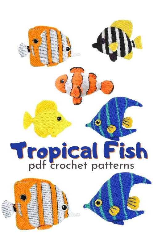 Fun set of tropical fish amigurumi crochet patterns! These would be so fun to fill up an old aquarium! Includes a clown fish crochet pattern, a striped boarfish crochet pattern, an angelfish crochet pattern, a tang fish crochet pattern and a butterfly fish crochet pattern. So much fun! #crochetpattern #amigurumipattern #fishcrochetpattern #crochetfish #aquariumfillers #oldaquarium #craftevangelist