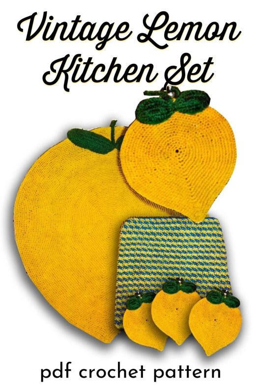 This vintage lemon kitchen set of crochet patterns includes a lemon crochet rug pattern, crochet potholder patterns and placemats! What a fun vintage lemon vibe! #crochetpatterns #vintagecrochetpattern #lemoncrochetpattern #craftevangelist