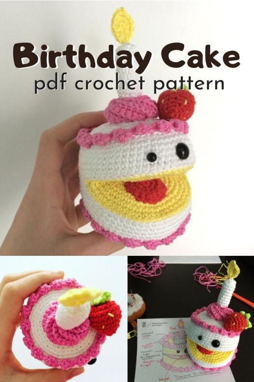 Adorable little derby birthday cake crochet pattern! Funny little last minute handmade amigurumi gift idea! #crochetpattern #amigurumipattern #birthdaycake #birthdaycrochet #craftevangelist