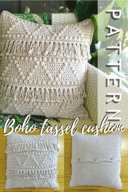 Fun textured vintage boho vibe on this crochet cushion pattern. Love the neutral colours! A diy handmade decor idea to on this awesome throw pillow crochet pattern! #crochetpattern #throwcushionpattern #crochetpillow #craftevangelist