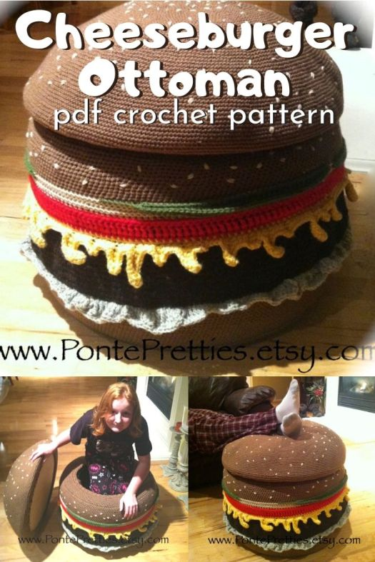 How much fun is this Cheeseburger Ottoman crochet pattern?! It's so cool that it opens up for storage! And it's made with recycled tires! How fun is that!? #crochetpattern #crochetedottoman #ottomanpattern #crochetedfootstool #craftevangelist